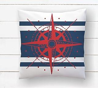N\A Almohada de la brújula Almohada náutica Azul Marino y roja Decoración de la casa de Playa Decoración temática del océano Almohadas costeras Raya Azul Marino