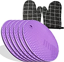 6 PCS Trivets for Hot Pots and Pans Holders Pads Silicone Mats for Kitchen Purple 2 PCS Oven Mitts Microwave Baking Gloves