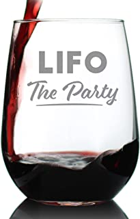 LIFO the Party - Funny Accounting Wine Glass Gift for Accountants - Large 17 oz Stemless Glasses