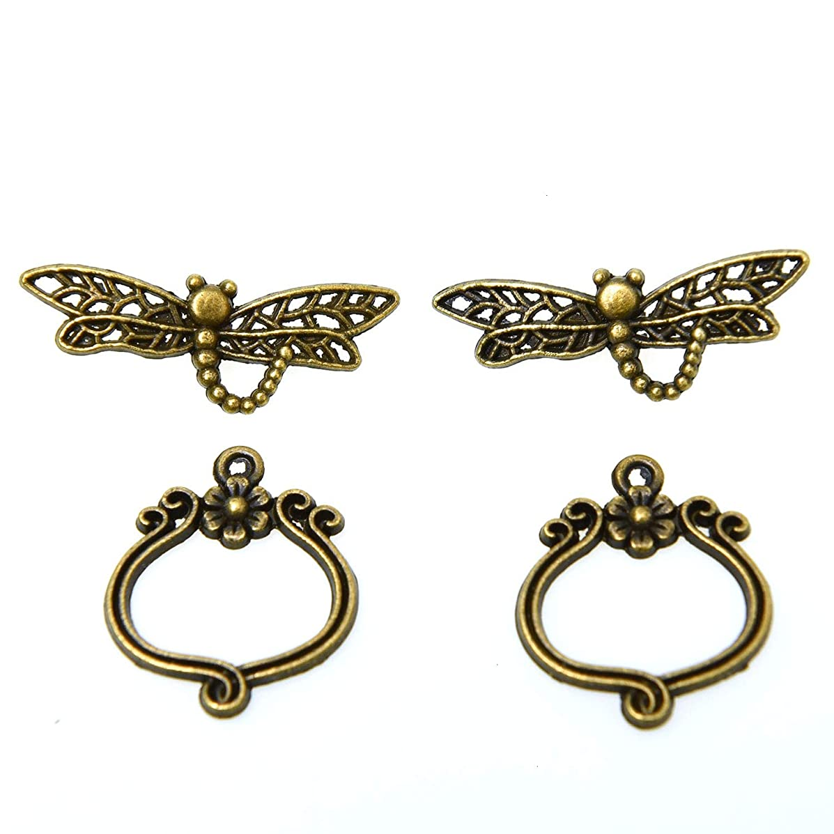 Monrocco 30 Sets Antique Bronze Flower Dragonfly Toggle Clasps Jewelry Bracelet Clasp Connector for Jewelry Making