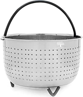 VHH - 6 Quart Steamer Basket for Instant Pot - Premium 6 QT Stainless Steel Vegetable IP Insert - Veggies, Eggs, Meats fits 6qt or 8qt Instapot - Silicone Handle and Feet, Pressure cooker accessories
