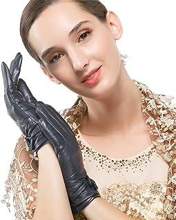 Nappaglo donne tradizionali di pelle guanti di pelle di cashmere positivo attraversa arco inverno guidando i guanti di cuo...