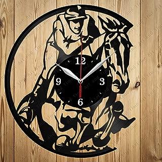 Horse Racing Vinyl Clock Art Decor Home Wall Clock Black Original Gift Unique Design