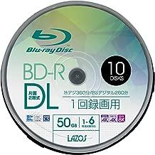 Lazos BD-R 50GB 1-6倍速対応 1回記録用 ホワイトワイド印刷対応 10枚組 スピンドルケース入 L-BDL10P