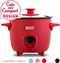 Dash DRCM200GBRD04 Mini Rice Cooker Steamer with with Removable Nonstick Pot, Keep Warm Function & Recipe Guide, Red
