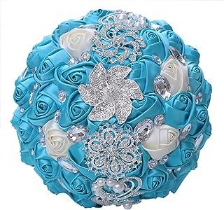 WJYIKEE Handmade Romantic Wedding Bouquet Bridal Holding Bouquets Bride Bridesmaid Bouqeut Wedding Decoration Silk Flowers with Rhinestone Decor (Blue)