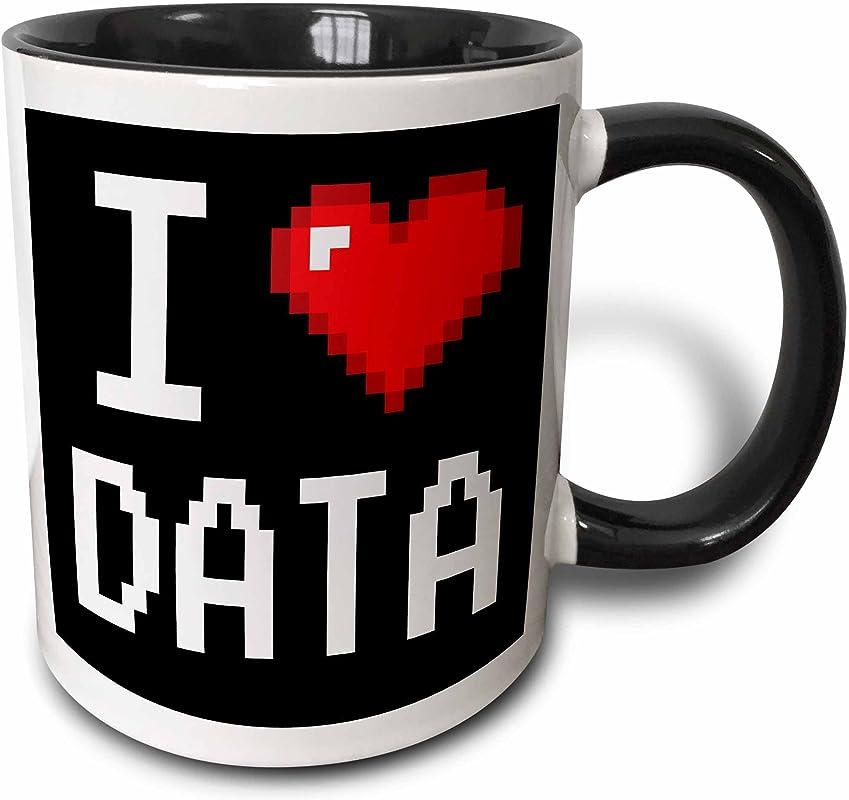 3dRose 118876 4 Geeky Old School Pixels 8 Bit I Heart I Love Data Two Tone Mug 11 Oz Black White