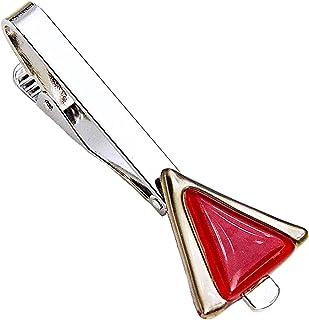 Krawattenklammer • Rot • Krawattennadel • Dreieckig • Tschechisches Glas mit Platin überzogen • Handgefertigt