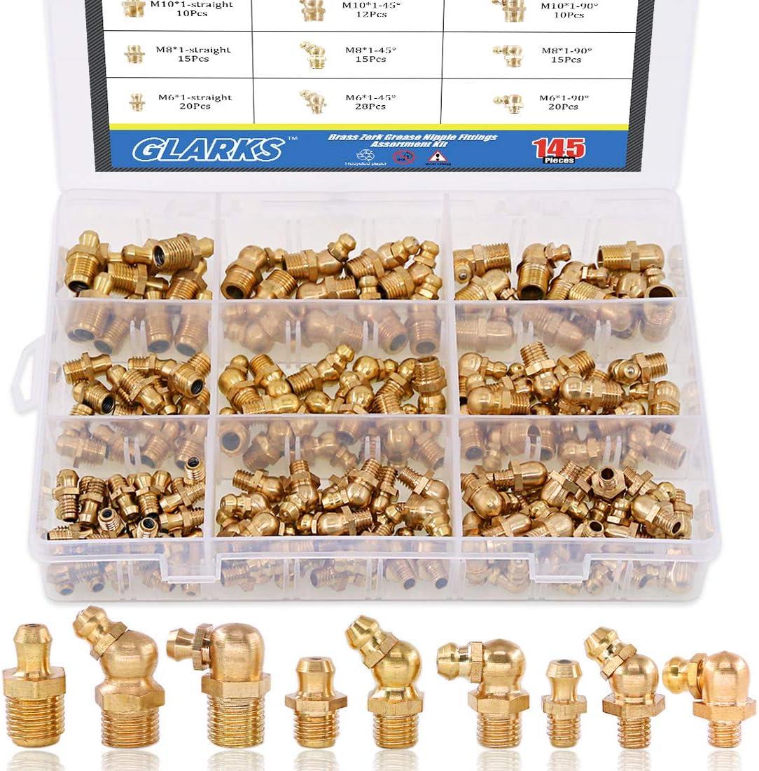 Glarks 145-Pieces Ranking TOP5 Metric M6 M8 M10 Zerk Grease Classic Nipple Brass Fitt