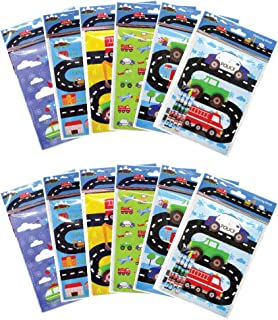 Transportation Vehicles Trains and Construction Coloring Book Set with Crayons Party Favor, 12 Pack