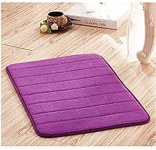 LALANG Memory Foam Soft Comfortable Bathroom Floor Rug Absorbent Non-Slip Sponge Bath Mat Kitchen Stripes Carpet(Purple)