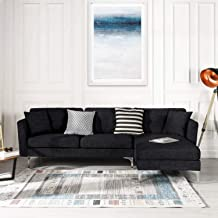 Black Upholstered Linen Sectional Sofa Couch| Modern L-Shape Sectional, Sectional Sofas and Couches, Sofa Couch with Chaise, for Small/Large Living spaces, Family Living Room Home Furniture Sectionals
