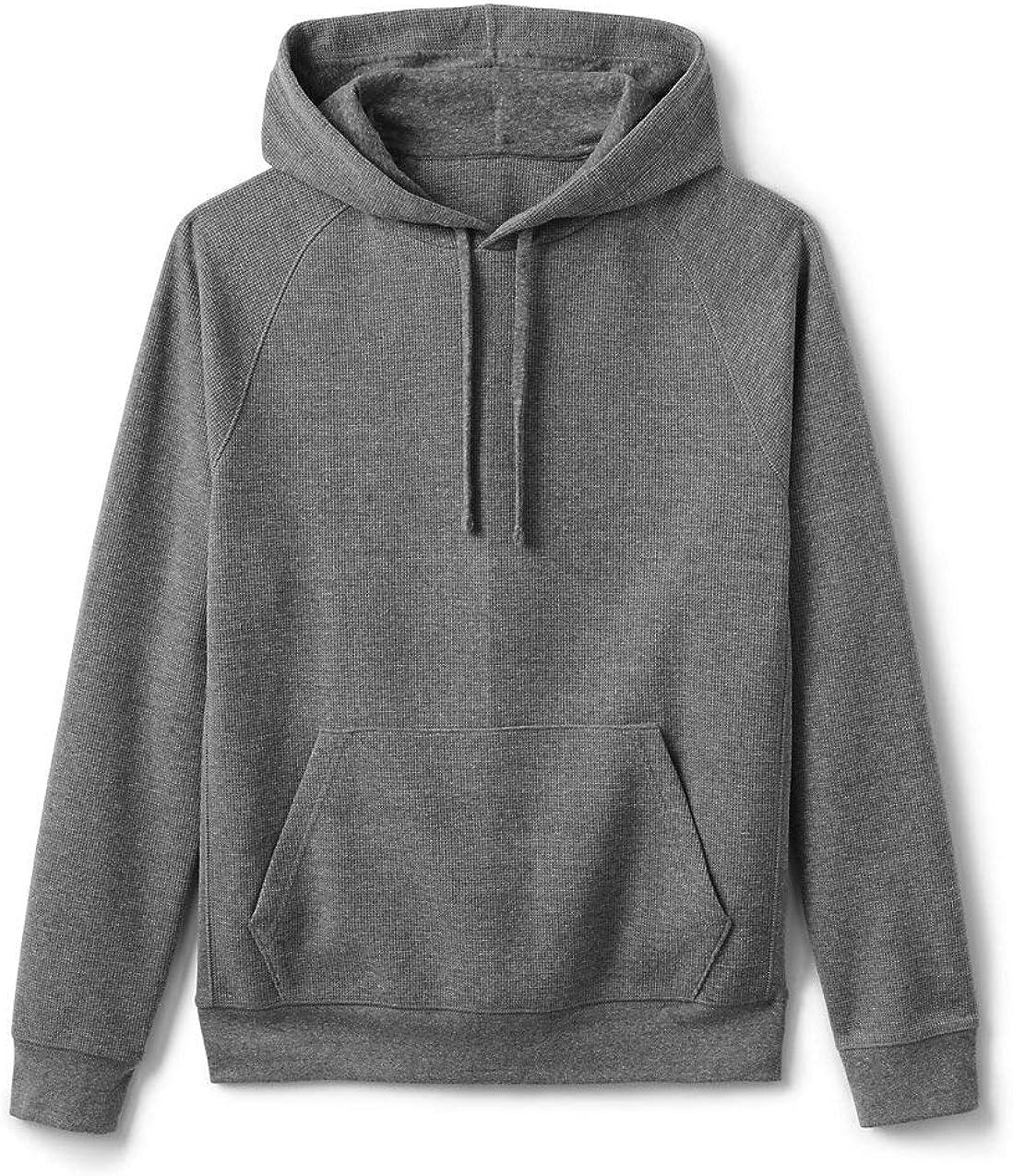 Lands' End Men's Long Sleeve Waffle Pullover Hoodie Sweatshirt
