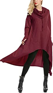 Women's High Low String Hoodie Tunic Sweatshirts with Pocket