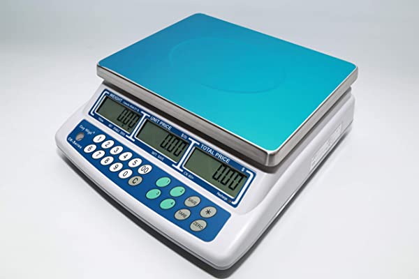 Easy Weigh CK 60 Digital Price Computing Scale Rechargeable Battery Operated NTEP Approval Class III LCD Display Portable Compact Stainless Steel Platter 60 X 0 01lb