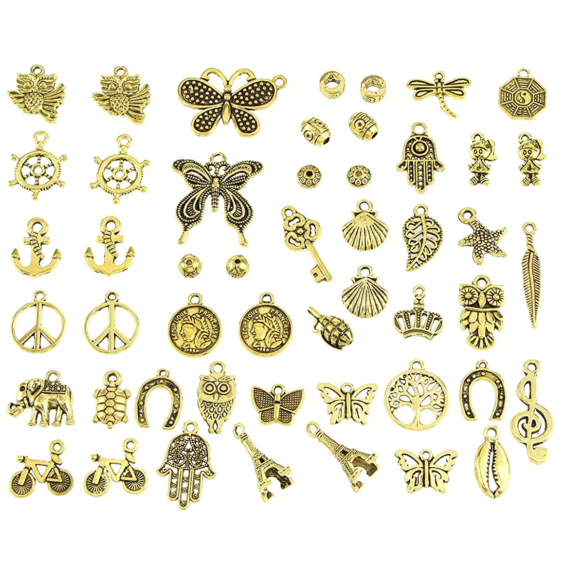 50pcs Charms for Jewelry Making,Dainty Tibetan Vintage Charms Pendants Crafting Accessories for Necklace Bracelet Ankle Jewelry DIY Making