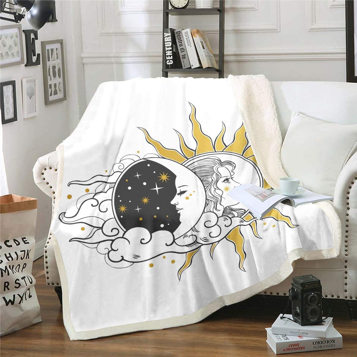 Feelyou Sun Special sale item and Moon Sherpa Blanket Boho Kids Boys Girls for Max 71% OFF Exo