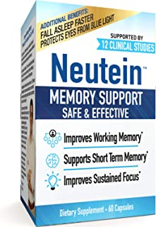 Neutein All Natural, Clinical Strength, PhD Formulated Cognitive Health Support – Improve Attention, Working Memory, Natur...