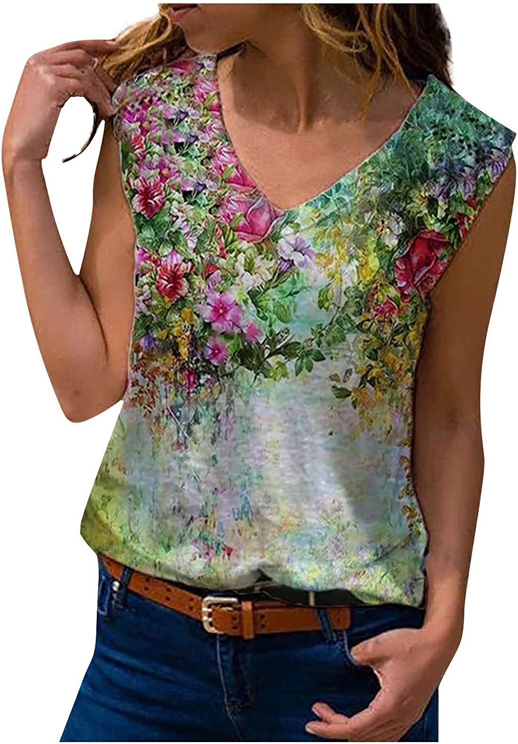 Women's Basic V Neck Floral T Max 81% OFF Tops Loose Shirts Popular Summer Pr Casual