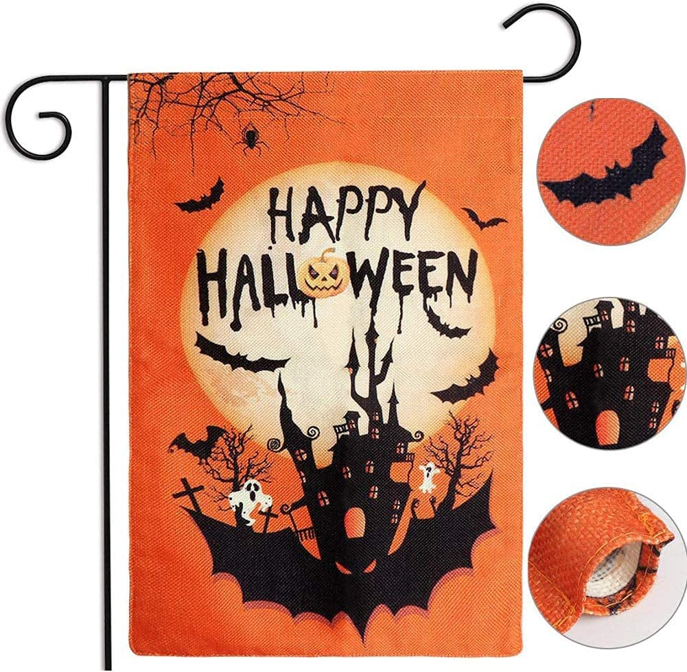 AerWo Halloween Regular store Garden Flag 5 popular 12×18 inch Double-Sided Happy Hal