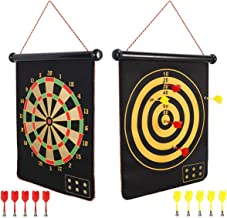 Mixi Magnetic Dart Board for Kids, Indoor Outdoor Darts Game Double Sided Board Games Set..