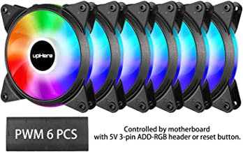 upHere 5V 6-Pack 120mm Silent PWM Intelligent Control 5V Addressable RGB Fan Motherboard Sync, Adjustable Colorful Fans with Controller T7SYC7-6