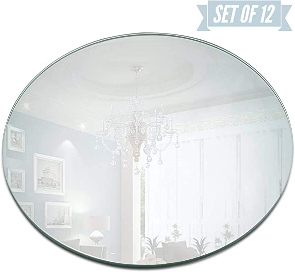 Round Mirror Candle Plate Set Box Of 12 Mirror Trays 12 Inch Diameter 1 5 Mm Thick Rounded Edge Round Mirror For Centerpieces Wall D Cor Crafts