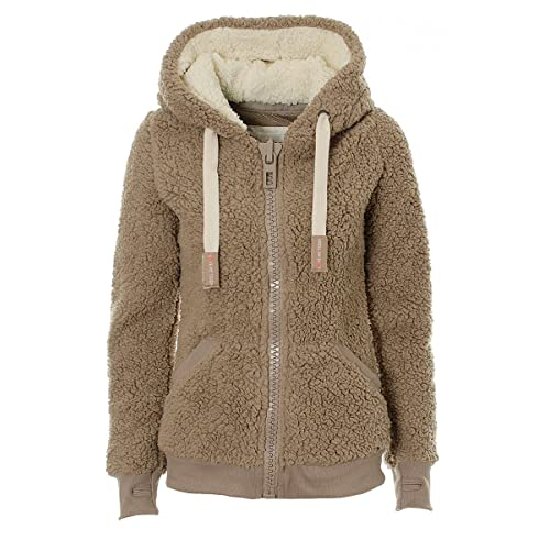 VILIER Ladies Womens Soft Teddy Fleece Hooded Jumper Hoody Jacket Coat Taupe df8122aff