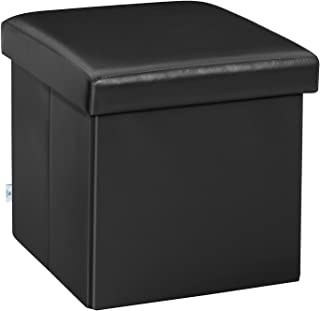 B FSOBEIIALEO Folding Storage Ottoman Cube with Faux Leather Toy Chest Footrest for Baby Black 11.8