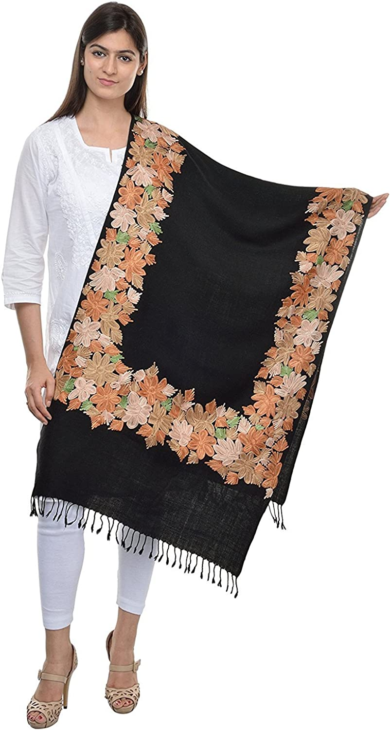 Kashmiri Women's Embroidered Shawl Stole Wrap (Black, 28 inch x 80 inch) Made in India