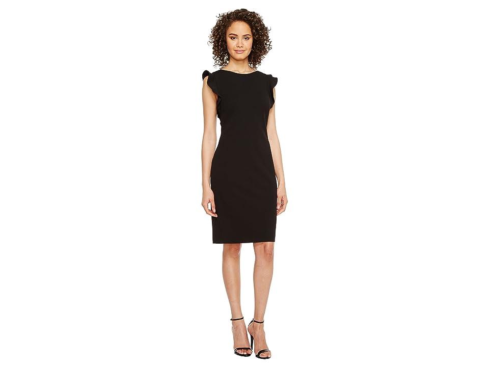 Calvin Klein Ruffle Sleeve Sheath Dress (Black) Women