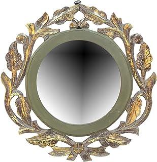 AMAZE SHOPPEE Wood Iron Wall Mirror (Light Green_40 X 40 X 1.5 Cm)