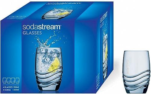Sodastream Verres à eau et soda – 4 unités – 4 x 330 ml – Transparent – Compatibles Lave-vaisselle – Assortis aux Bou...