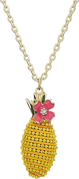 Yellow and Gold Tone Pineapple Pendant Necklace
