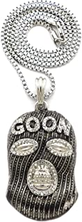 Stone Stud Full Face Ski Mask Goon Pendant with 3mm Box Chain Necklace