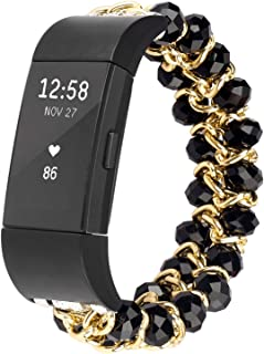 Imymax for Fitbit Charge 2 Bands Bracelet Women Replacement Crystal Pearls Gems Elastic Handmade Bracelet/Wrist Band for Fitbit Charge 2 Smart Watch (Crystal Black)