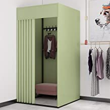YXYECEIPENO Temporary Changing Room Rectangular Fitting Room Dressing Room Curtain Kit and Metal Frame Shelf Folding Room ...