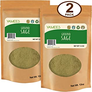Yamees Sage Powder - Sage Spice - Ground Sage - Sage Seasoning - Bulk Spices - 2 Pack of 12 Ounce Each