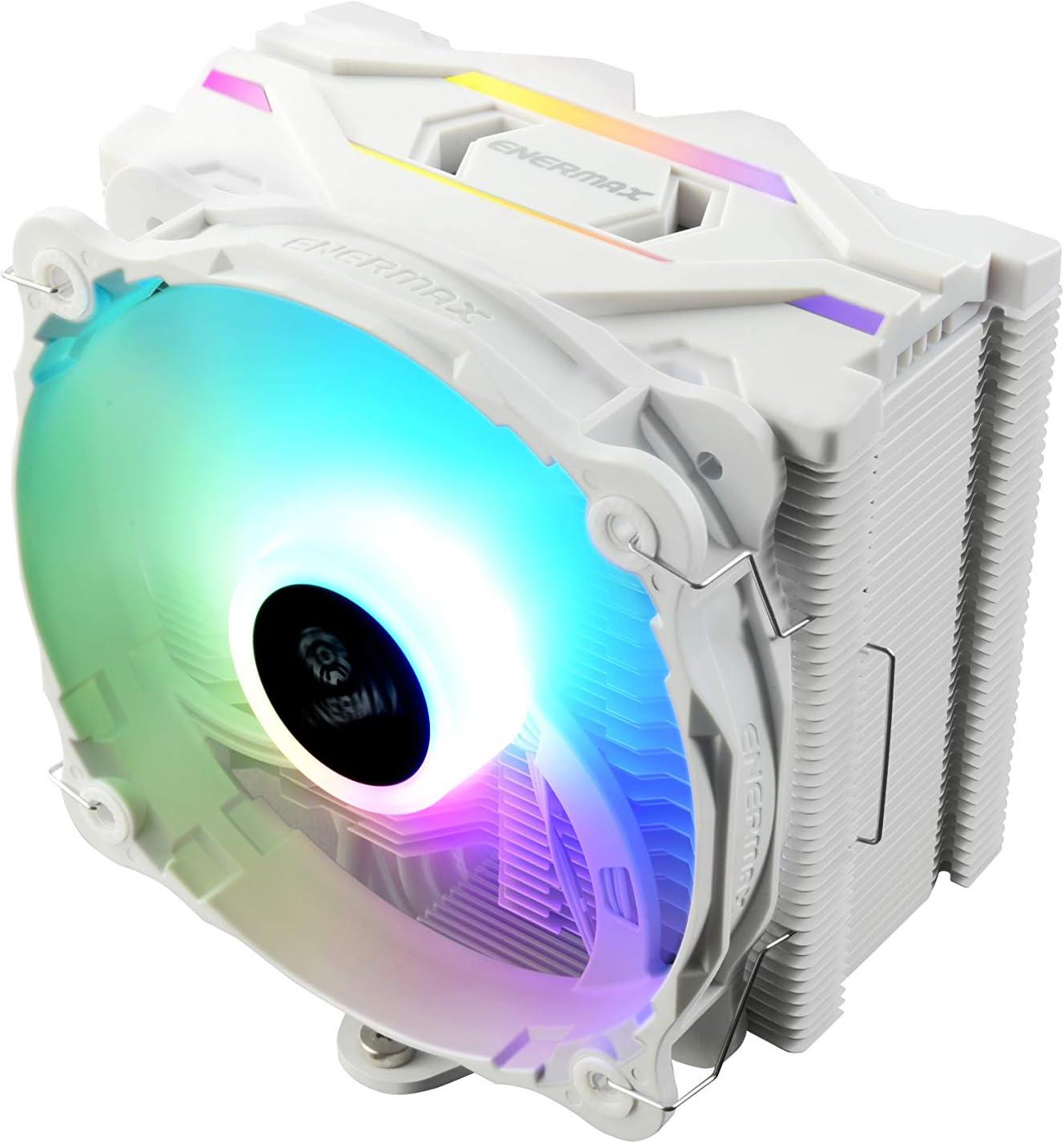 ENERMAX - Refrigerador de Aire RGB para procesador Intel/AMD Ryzen, Ventilador silencioso de 14 cm RGB corredible, Color Blanco