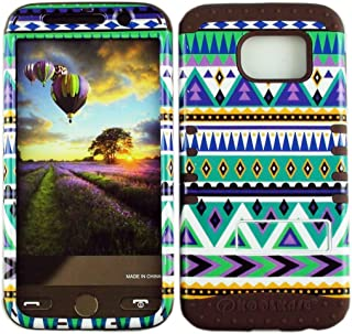 Cellphone Trendz Dual Layer Soft Hard Hybrid High Impact Protective Case Cover for Samsung Galaxy S6 G920 - Blue Tribal Aztec Design Hard Case on Brown Skin