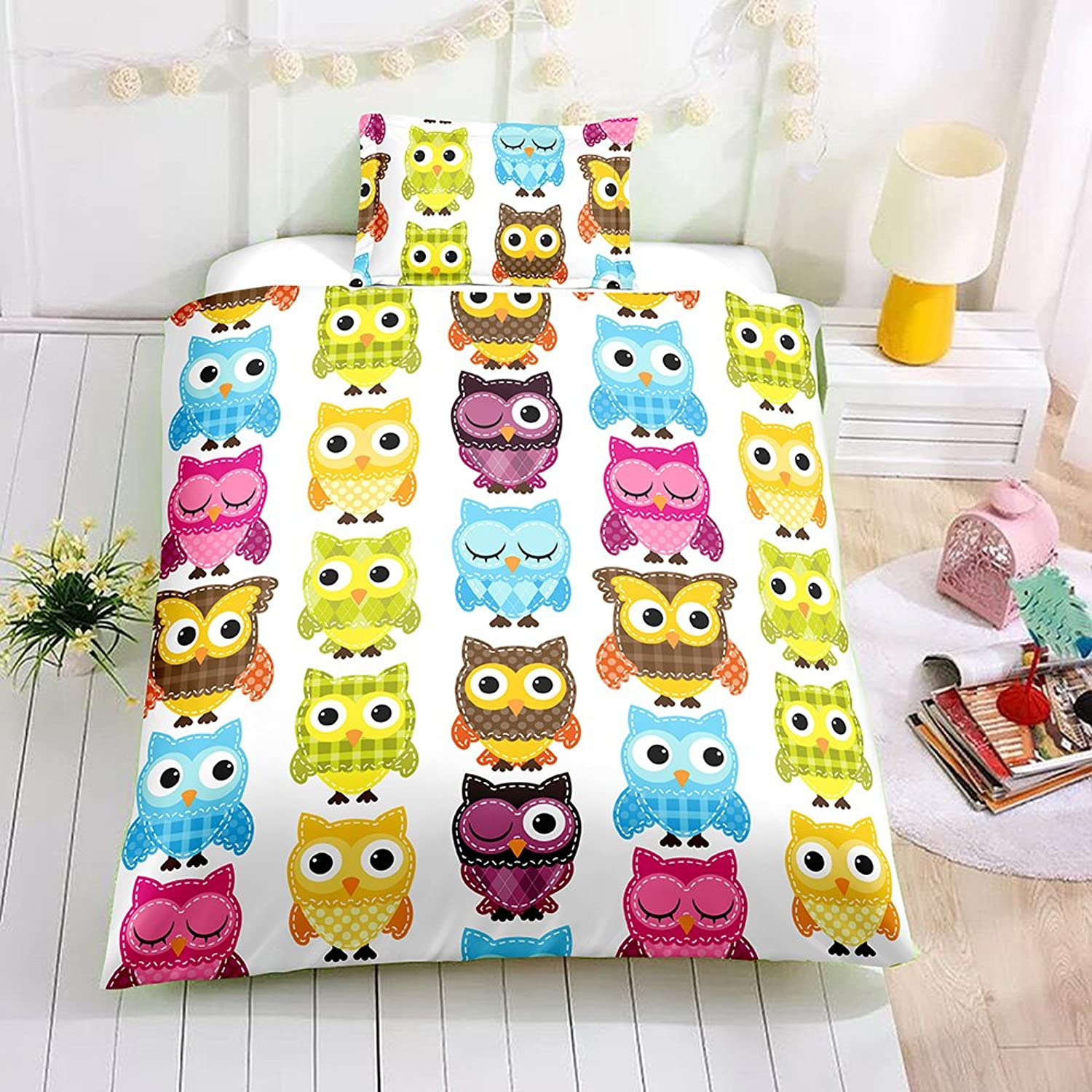 Meetbelify Duvet Cover 3PCS -Girls Bedding Set Cute Owl Printed with Pillowcases.Twin Size 2PCS,1 Duvet Cover68 x86+1 Pillow Shams19 x30,Comforter Not Included.
