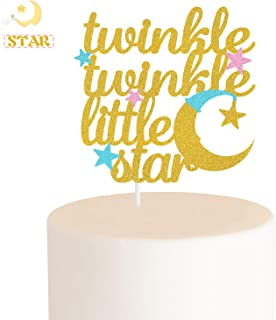 Twinkle Twinkle Little Star Cake Topper Little Moon and Multi Color Little Star Decorations Perfect for Gender Reveal Birthday Party Baby Shower (Double-Sided)