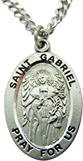 Westman Works St Gabriel Solid Pewter One Inch Saint Medal with Stainless Steel Chain