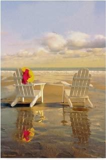 Trademark Fine Art Chairs On The Beach by Carlos Casamayor, 30x47-Inch Fine Art Multicolor