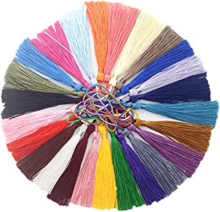 VAPKER 100 Pieces 13cm/5-Inch Silky Handmade Soft Tassels Floss Bookmark Tassels with 2-inch Cord Loop for Jewelry Making, DIY Projects, Bookmarks(25 Colors)