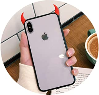 Strawberries Cake Ultra-Thin Anti-Drop Transparent Individuality Devil Horn Phone Case iPhone X XS Max 6 6S 7 8 Plus Soft Acrylic Case,red,iPhone Xs