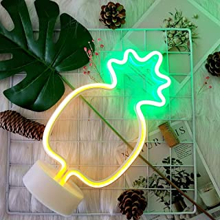 Pineapple Neon Lights GUOCHENG Decor Light Led Night Light Wall Table Decor Battery Operated Creative Lighting Lamp Home Decoration Party Decoration Gift for Kids(Green Pineapple)