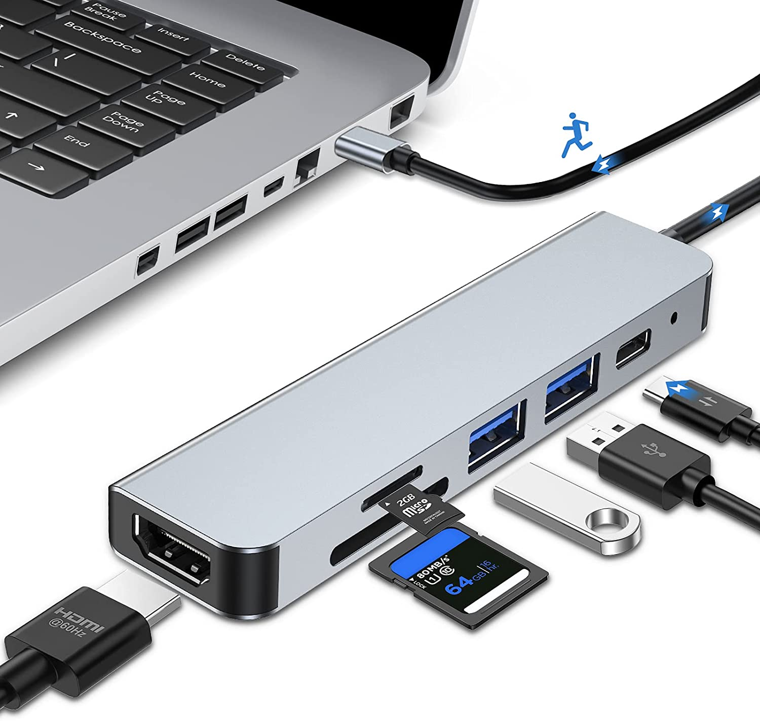 USB Hub HDMI Multiport Adapter, 6 in 1 USB C Hub with Type-C PD Charging Port, 2 USB Ports, SD/TF Card Reader, 4K HDMI, Aluminum Macbook Pro Adapter, USB Dongle Docking Station for Laptop, Mac Pro/Air