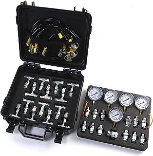 SINOCMP Hydraulic Pressure Test Kit with 5 Gauges, 3 Test Hoses and 24 Couplings Hydraulic Test Gauge Kit Pressure Gauge Used for Excavators, 2 Years Warranty