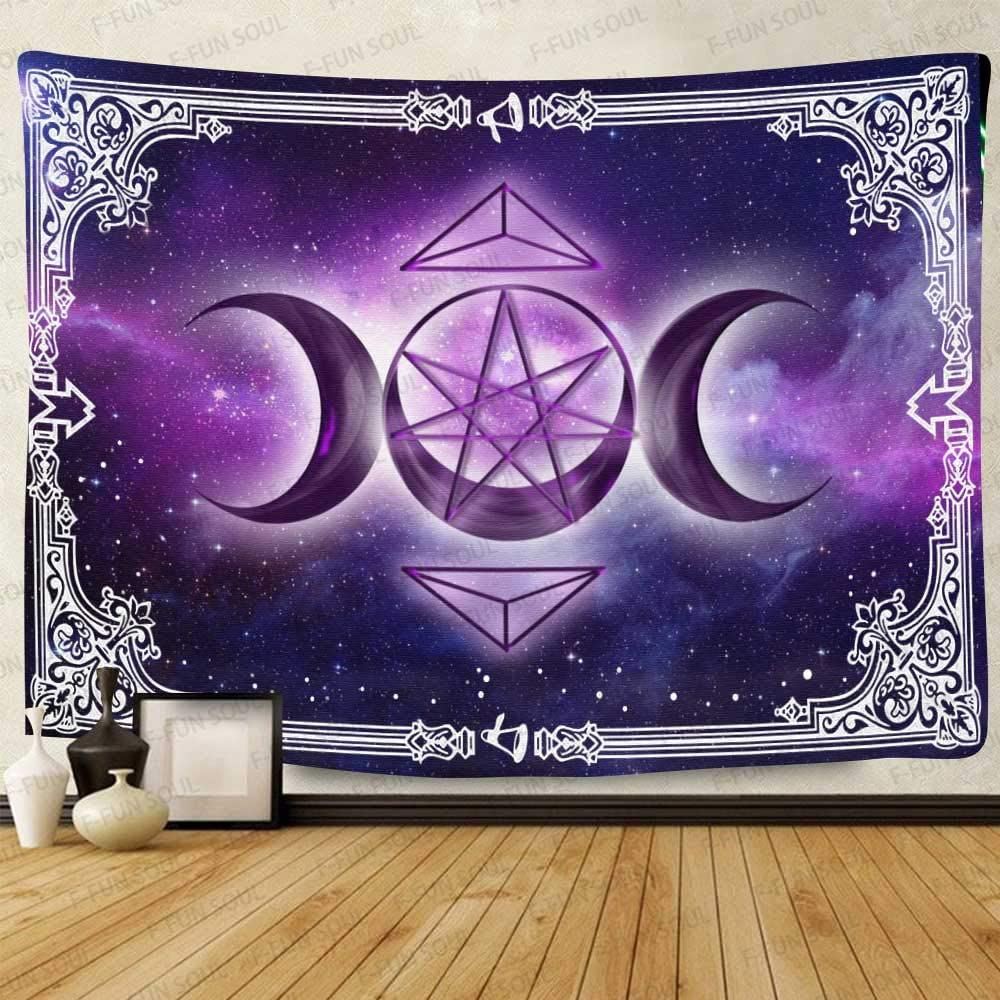 F-FUN SOUL Triple Moon Altar Tarot Tapestry, 60x40inches Soft Flannel, Pentacle Purple Starry Sky Art Wall Hanging Tapestries for Living Room Bedroom Decor GTZYFS926